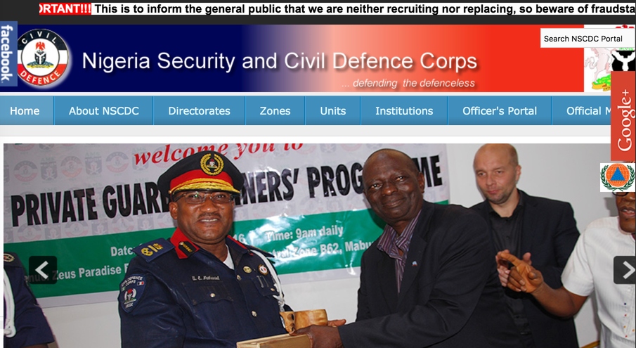 Fraudsters Hack NSCDC Website